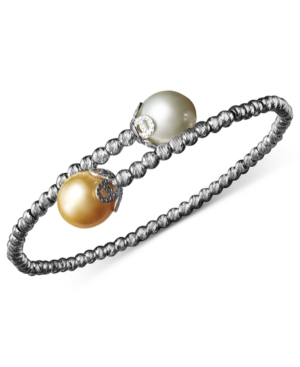 Pearl Bracelet, Sterling Silver Cultured South Sea Pearl (9mm) and Sparkle Bead Cuff