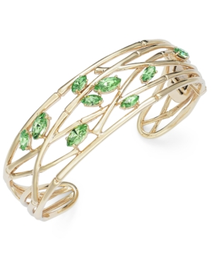 SIS by Simone I Smith 18k Gold over Sterling Silver Bracelet, Green Crystal Bangle (3/8 ct. t.w.)