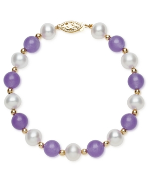 14k Gold Bracelet, Cultured Freshwater Pearl and Lavender Jade (3-3/8 ct. t.w.) Bracelet