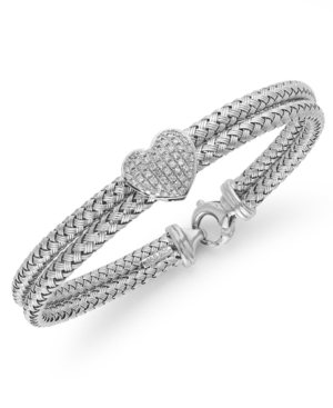 Balissima by EFFY Collection Diamond Bracelet, Sterling Silver Diamond Heart Rope Bracelet (1/5 ct. t.w.)