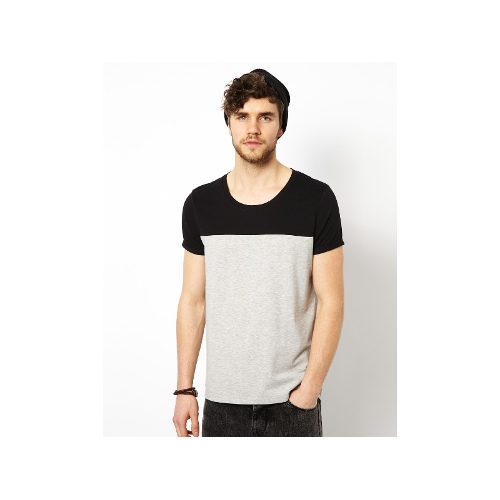 T-Shirt With Cut And Sew Contrast Yoke