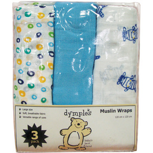 Dymples 3 Pack Muslin Wraps - Blue
