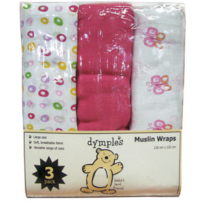 Dymples 3 Pack Muslin Wraps - Pink