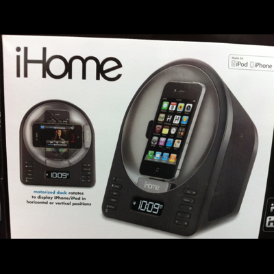 ihome alarm clock radio with motorized iPod  dock