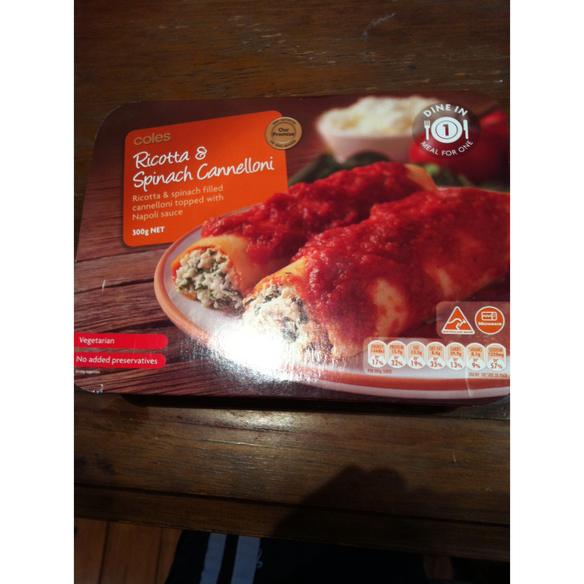 Coles Ricotta & Spinach Canneloni 300g