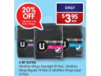 Alliance Pharmacy U By Kotex Ultrathins Wings Overnight 10 Pack, Ultrathins Wings Regular 14 Pack or Ultrathins Wings Super 12 Pack