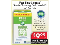 Pharmacy 4 Less Fess Sinu-Cleanse Gentle Cleansing Daily Wash Kit 60 Sachets
