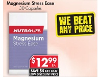 Pharmacy 4 Less Nutralife Magnesium Stress Ease 30 Capsules