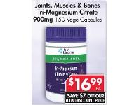 Pharmacy 4 Less Henry Blooms Joints, Muscles & Bones Tri-Magnesium Citrate 900mg 150 Vege Capsules