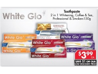 Pharmacy 4 Less White Glo Toothpaste 2 In 1 Whitening, Coffee & Tea, Professional & Smokers 150g