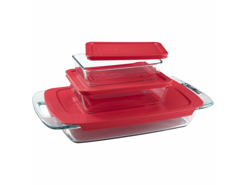 Pyrex Easy Grab 9-Piece Glass Bakeware and Storage Container Set with Red Lids 1090993-3PK