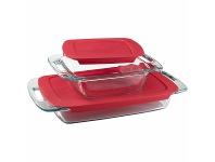 Appliances Online Pyrex Easy Grab 8-piece Glass Bakeware Set with Red Lids 1091675-4PK