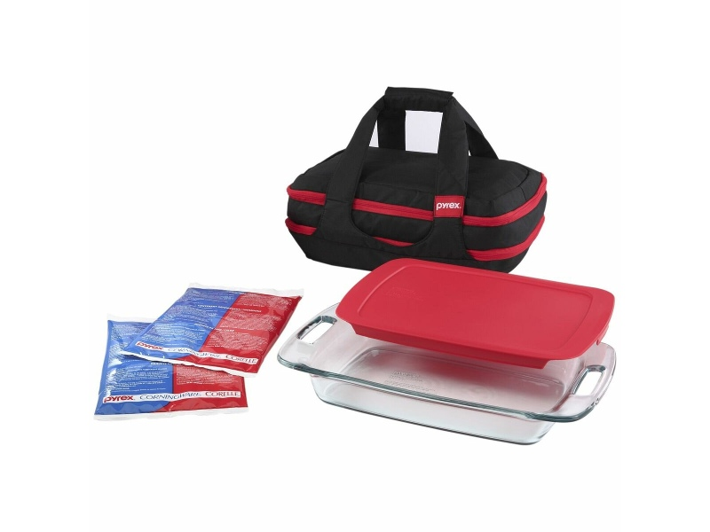 Pyrex 9-piece Portables Baking Dish Set with Black Bag and Red Lid 1102267