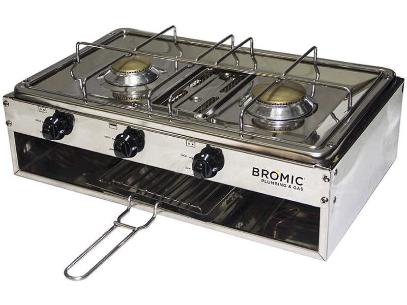 Bromic 2020069 50cm Marine-Lido Junior Deluxe 2 Burner with Gimbal and Pot Holder