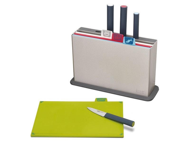 Joseph Joseph 60096 Index Chopping Board Set and Elevate Chef's Knife
