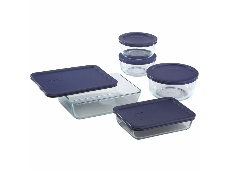 Pyrex 12-piece Glass Food Storage Container Set with Blue Lids 6021224-3PK