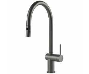 Gessi Inedito Pull Out Dual Function Spray Kitchen Mixer Tap Black Metal Brushed 60413BMB