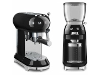 Appliances Online Smeg Black 50s Retro Style Espresso Coffee Machine & Coffee Grinder Pack BFCOFFEEPACK