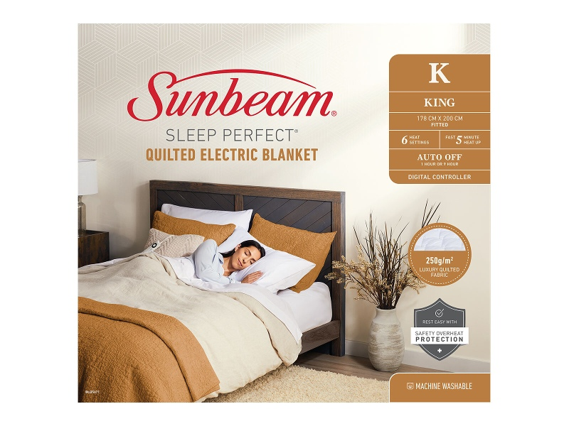 Sunbeam Sleep Perfect King Bed Quilted Heated Blanket BLQ5471