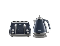 Appliances Online DeLonghi Icona Capitals Kettle and 4 Slice Toaster Breakfast Pack CTOC4003BLKBOC2001BL