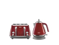 Appliances Online DeLonghi Icona Capitals Kettle and 4 Slice Toaster Breakfast Pack CTOC4003RKBOC2001R