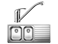 Blanco DINAS8S175LD-BT489 1 and 3/4 Bowl Right Hand Drainer Sink and Tap