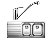 Blanco DINAS8S175RD-BT489 1 and 3/4 Bowl Left Hand Drainer Sink and Tap