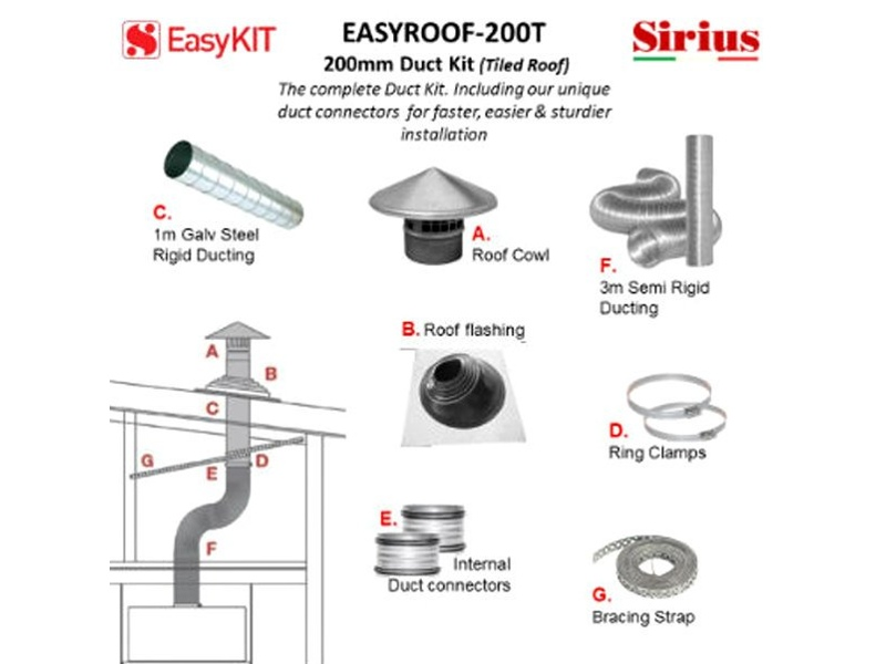 Sirius EASYROOF200T 200mm Tiled Roof Ducting Kit
