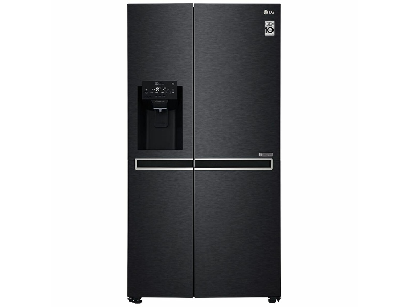 LG 668L Side by Side Fridge with Non-Plumbed Ice & Water Dispenser Matte Black GS-L668MBNL