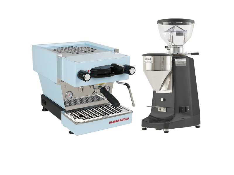 La Marzocco Linea Mini Blue Home Package with Black Grinder H-MPACKBL