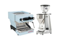 Appliances Online La Marzocco Linea Mini Blue Home Package with Stainless Steel Grinder H-MPACKBLS