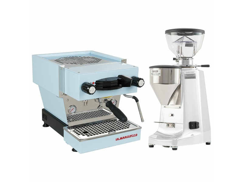 La Marzocco Linea Mini Blue Home Package with White Grinder H-MPACKBLW