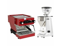 Appliances Online La Marzocco Linea Mini Red Home Package with White Grinder H-MPACKRW