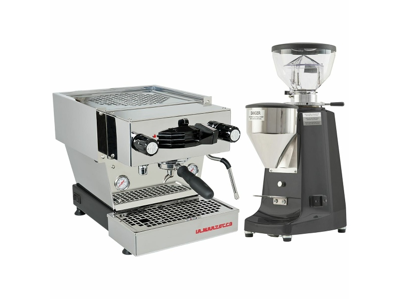 La Marzocco Linea Mini Stainless Steel Home Package with Black Grinder H-MPACKSB