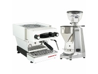 Appliances Online La Marzocco Linea Mini White Home Package with Stainless Steel Grinder H-MPACKWS