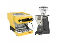 Appliances Online La Marzocco Linea Mini Yellow Home Package with Black Grinder H-MPACKYL