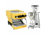 Appliances Online La Marzocco Linea Mini Yellow Home Package with Stainless Steel Grinder H-MPACKYLS