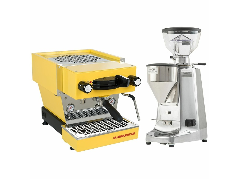La Marzocco Linea Mini Yellow Home Package with Stainless Steel Grinder H-MPACKYLS