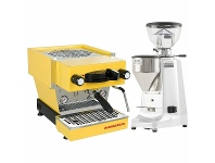 Appliances Online La Marzocco Linea Mini Yellow Home Package with White Grinder H-MPACKYLW