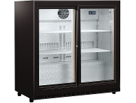 Appliances Online Husky HUS-C2-BLK-SD 190L Double Sliding Glass Door Bar Fridge