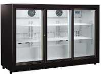 Appliances Online Husky 307L Triple Sliding Glass Door Bar Fridge HUS-C3-BLK-SD