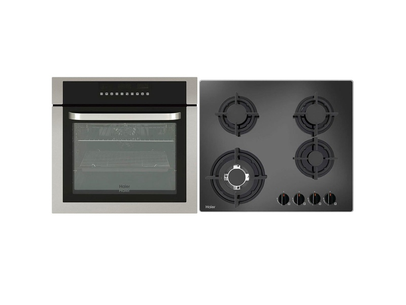 Haier 60cm Pyrolytic Oven & 60cm Gas Cooktop Pack HWO60S11TPX1HCG604WF