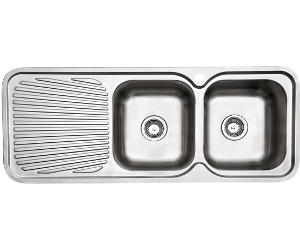 Arc IS12RS4 Double Bowl Left Hand Drainer Inset Sink