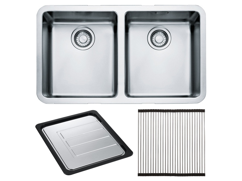 Franke KBX120-34OF Kubus Double Bowl Undermount Sink with Accessories