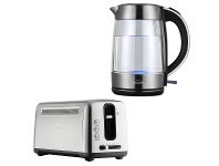 Appliances Online Sunbeam Maestro Dual Wall Glass Kettle and 4 Slice Long Toaster KE9750TA6340P