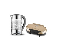 Appliances Online Kenwood 1.5L Glass Kettle and Pancake Maker Pack KKE760CLRKPC120GLD