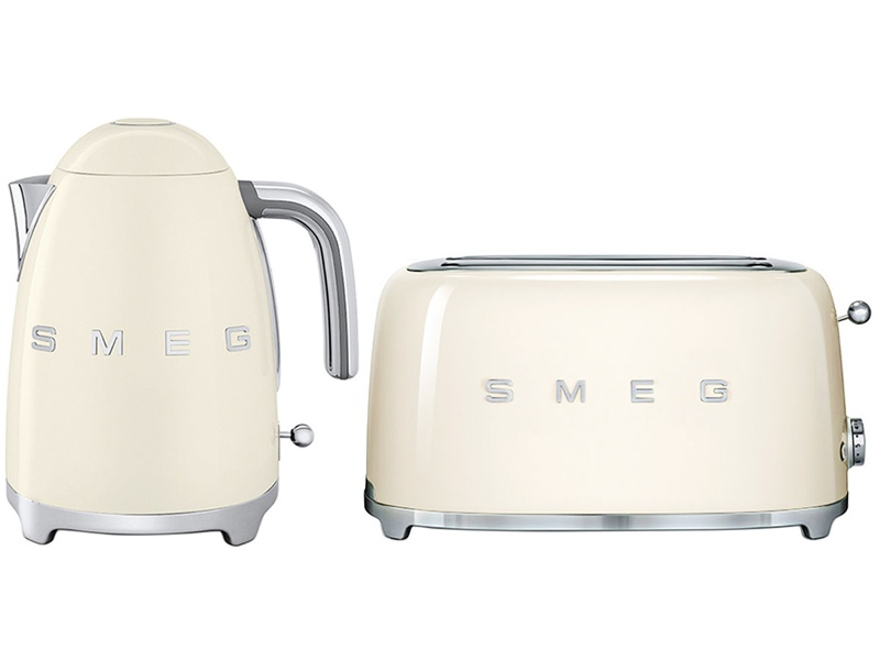 Smeg KLF03CRAUTSF02CRAU Cream Kettle and 4 Slice Toaster Pack