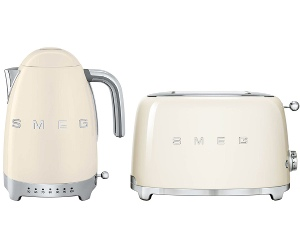 Smeg KLF04CRAUTSF01CRAU Cream Kettle and 2 Slice Toaster Pack