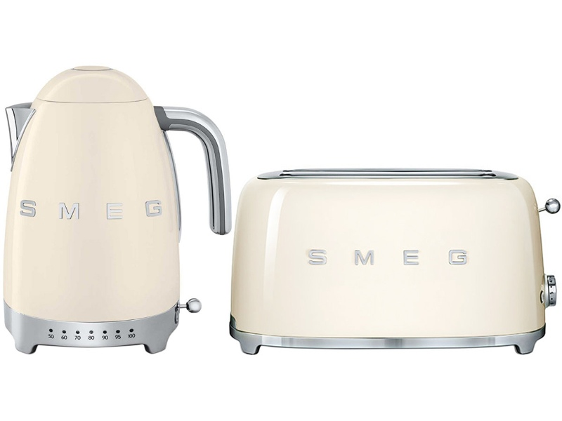 Smeg KLF04CRAUTSF02CRAU Cream Kettle and 4 Slice Toaster Pack