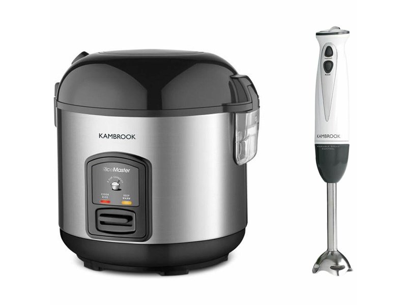 Kambrook Master 5 Cup Rice Cooker with Power Drive Stick Mixer KRC405BSSPK